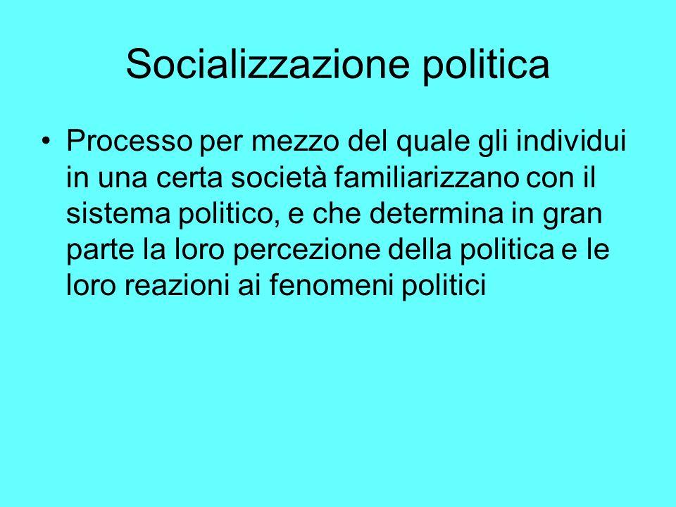 Socializzazione politica Processo per mezzo del quale gli individui in una certa società familiarizzano con il sistema politico, e che determina in gran parte la loro percezione della politica e le loro reazioni ai fenomeni politici