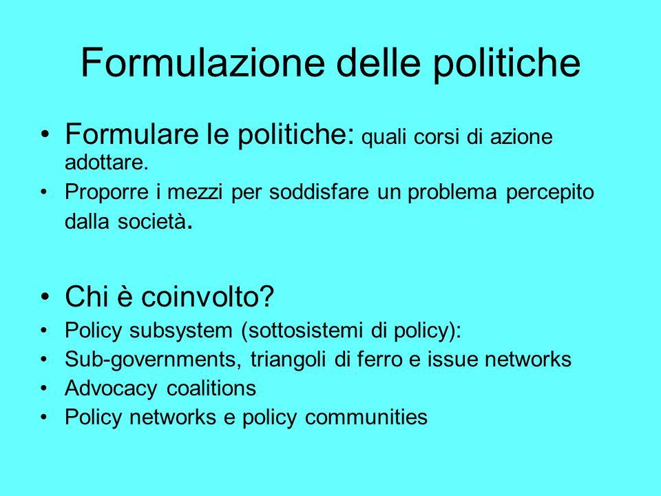 Formulazione delle politiche Formulare le politiche: quali corsi di azione adottare.