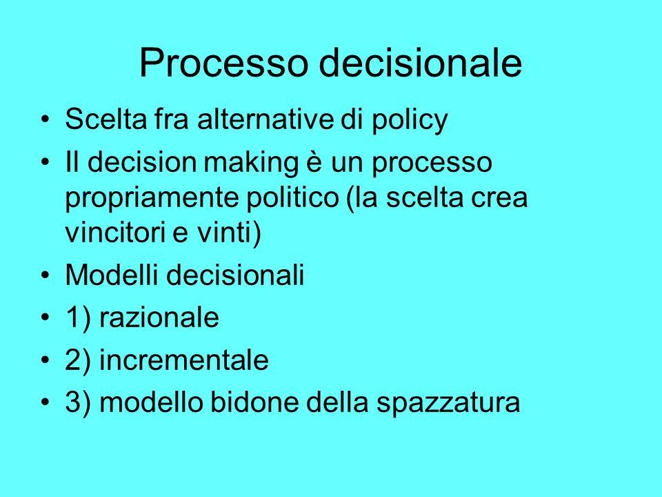 Processo decisionale Scelta fra alternative di policy Il decision making è un processo propriamente politico (la scelta crea vincitori e vinti) Modelli decisionali 1) razionale 2) incrementale 3) modello bidone della spazzatura