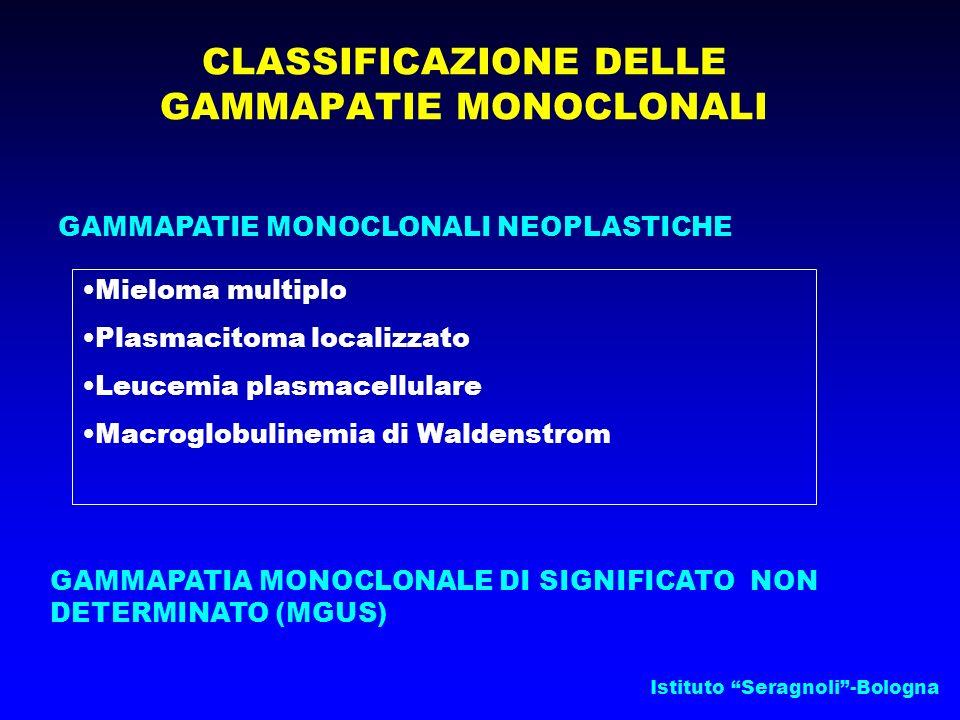 Istituto Seragnoli-Bologna CLASSIFICAZIONE DELLE GAMMAPATIE MONOCLONALI GAMMAPATIE MONOCLONALI NEOPLASTICHE GAMMAPATIA MONOCLONALE DI SIGNIFICATO NON DETERMINATO (MGUS) Mieloma multiplo Plasmacitoma localizzato Leucemia plasmacellulare Macroglobulinemia di Waldenstrom