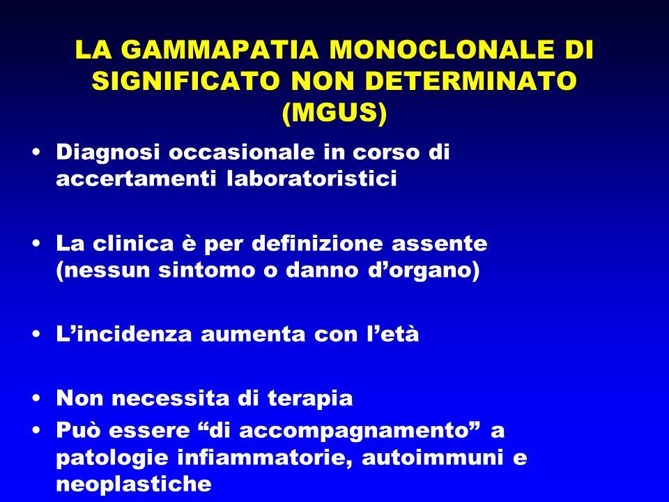 LA GAMMAPATIA MONOCLONALE DI SIGNIFICATO NON DETERMINATO (MGUS) Diagnosi occasionale in corso di accertamenti laboratoristici La clinica è per definiz