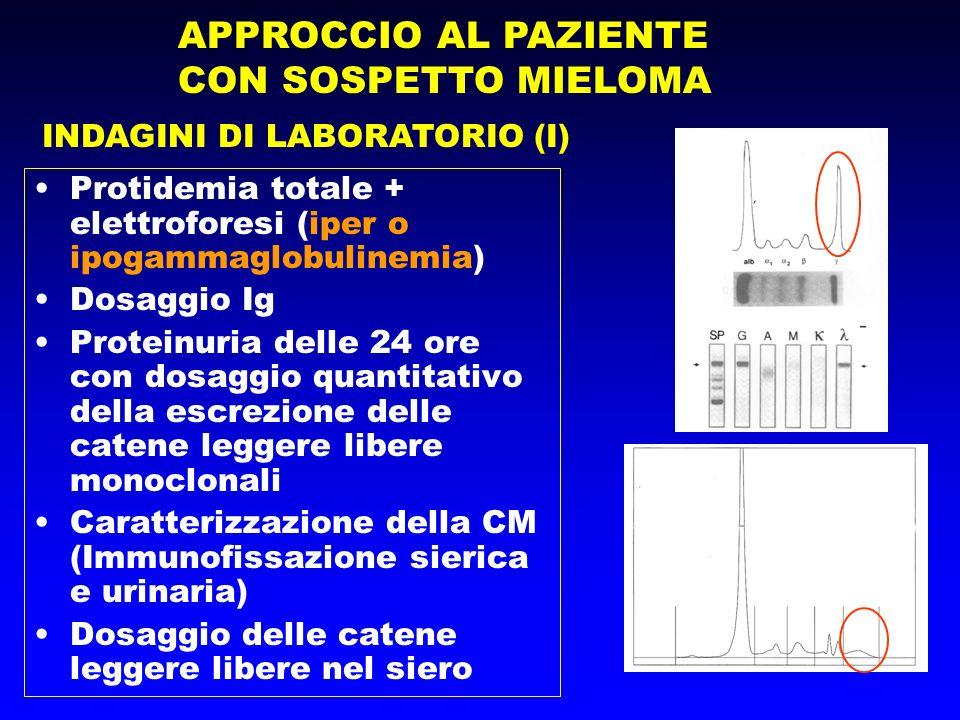 APPROCCIO AL PAZIENTE CON SOSPETTO MIELOMA INDAGINI DI LABORATORIO (I) Protidemia totale + elettroforesi (iper o ipogammaglobulinemia) Dosaggio Ig Pro