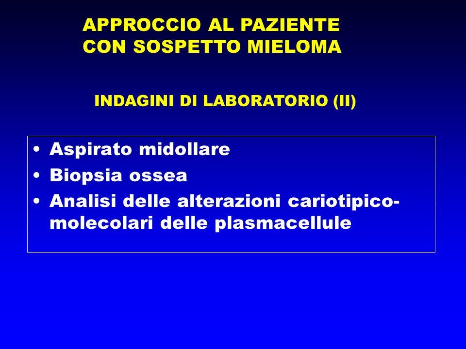 APPROCCIO AL PAZIENTE CON SOSPETTO MIELOMA INDAGINI DI LABORATORIO (II) Aspirato midollare Biopsia ossea Analisi delle alterazioni cariotipico- molecolari delle plasmacellule