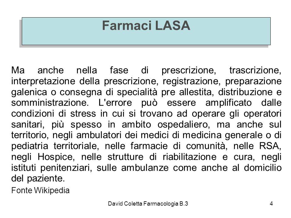 David Coletta Farmacologia B.34 Farmaci LASA Ma anche nella fase di prescrizione, trascrizione, interpretazione della prescrizione, registrazione, preparazione galenica o consegna di specialità pre allestita, distribuzione e somministrazione.