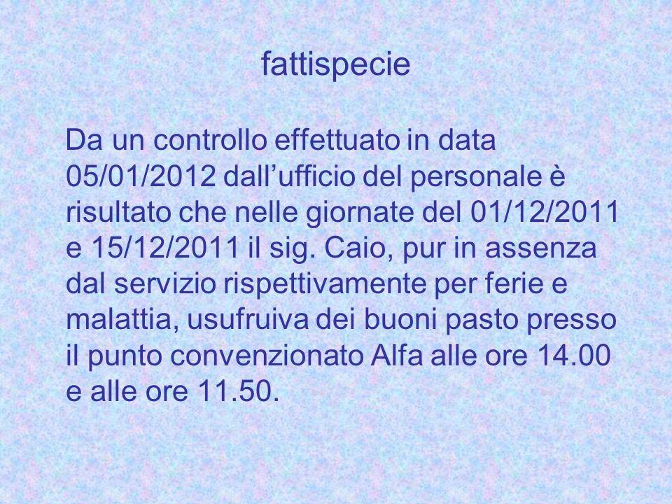 fattispecie Da un controllo effettuato in data 05/01/2012 dallufficio del personale è risultato che nelle giornate del 01/12/2011 e 15/12/2011 il sig.