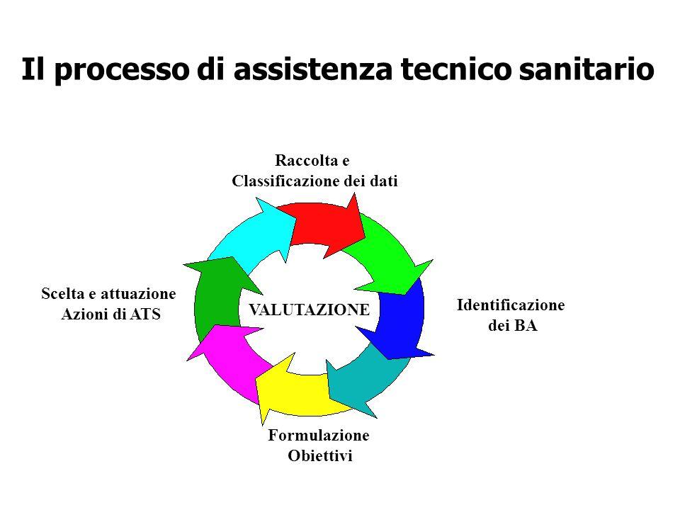 Il processo di assistenza tecnico sanitario Raccolta e Classificazione dei dati Identificazione dei BA Formulazione Obiettivi Scelta e attuazione Azio