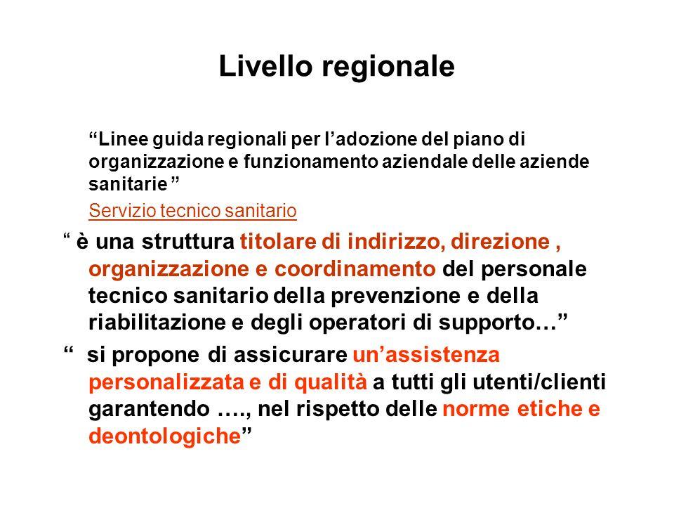 Livello regionale Linee guida regionali per ladozione del piano di organizzazione e funzionamento aziendale delle aziende sanitarie Servizio tecnico s