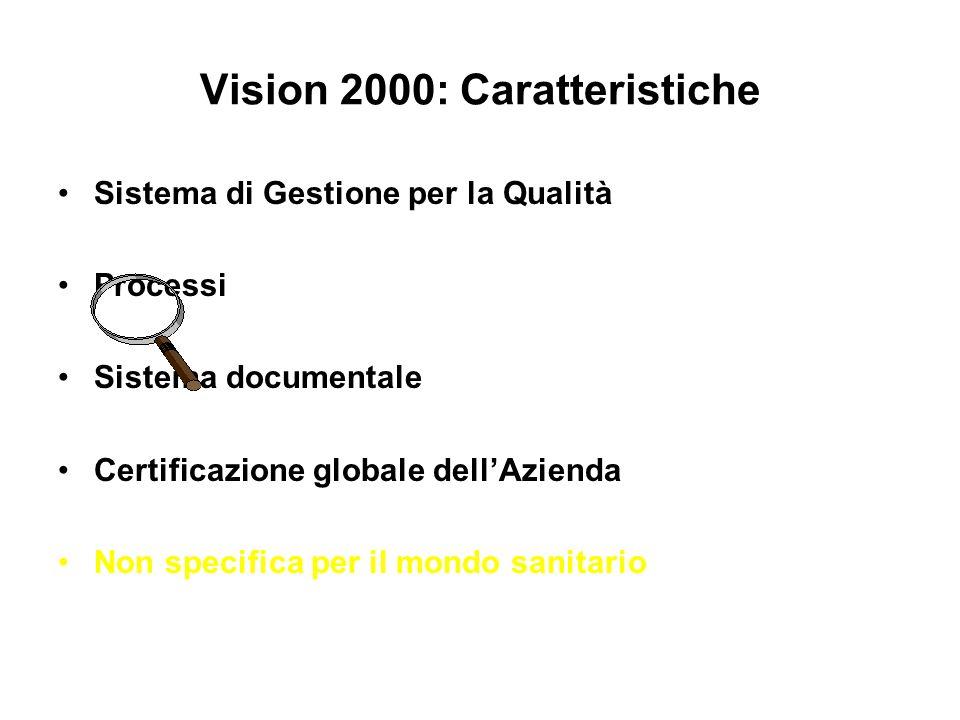 Vision 2000: Caratteristiche Sistema di Gestione per la Qualità Processi Sistema documentale Certificazione globale dellAzienda Non specifica per il m