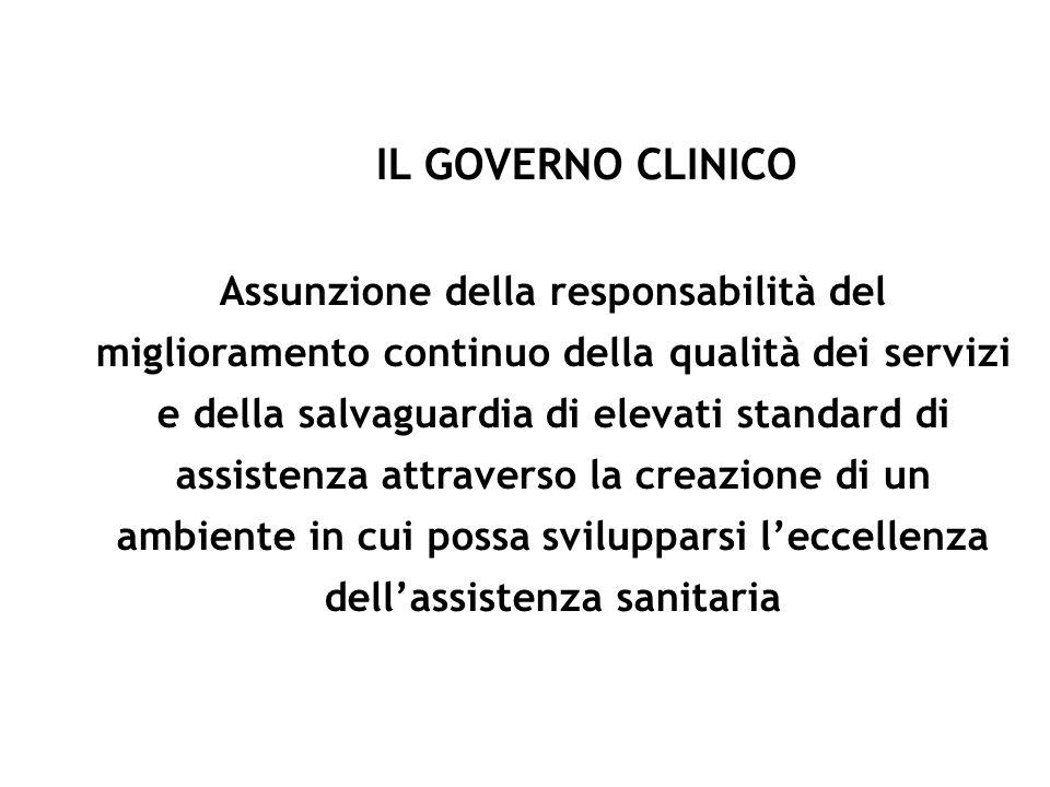 IL GOVERNO CLINICO Assunzione della responsabilità del miglioramento continuo della qualità dei servizi e della salvaguardia di elevati standard di as