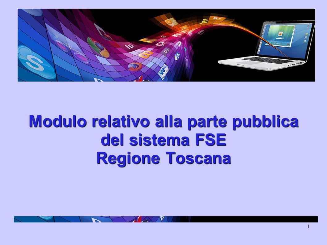 1 Modulo relativo alla parte pubblica del sistema FSE Regione Toscana