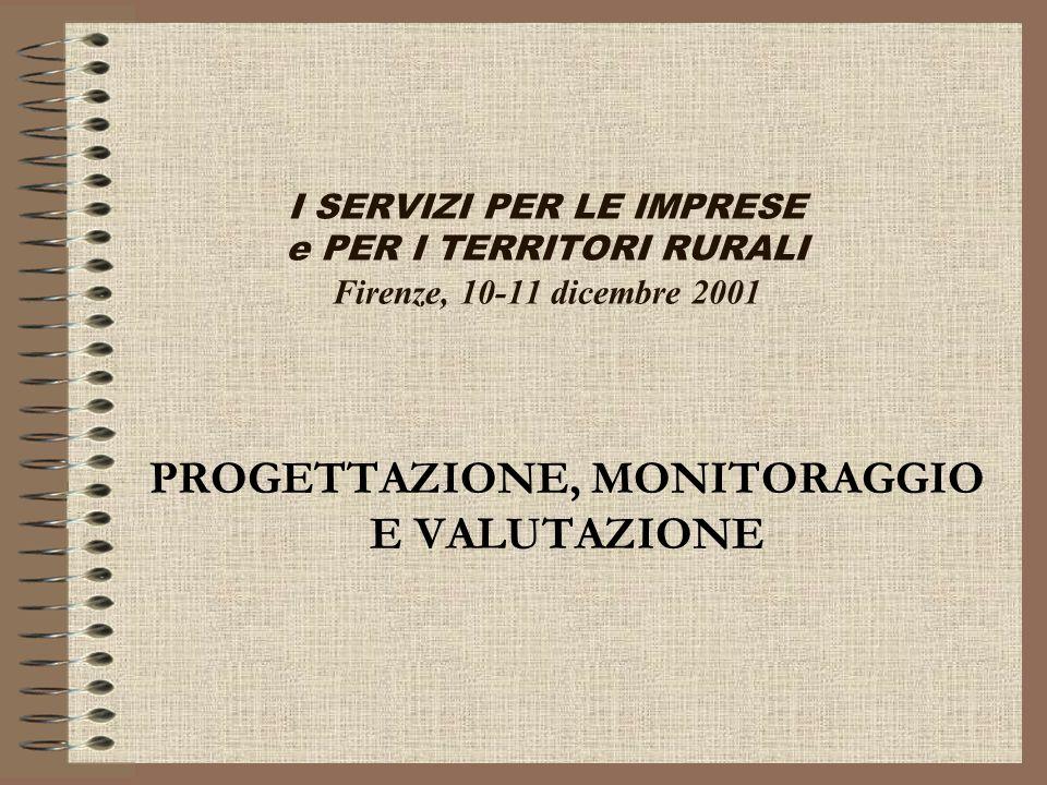 I SERVIZI PER LE IMPRESE e PER I TERRITORI RURALI Firenze, 10-11 dicembre 2001 PROGETTAZIONE, MONITORAGGIO E VALUTAZIONE
