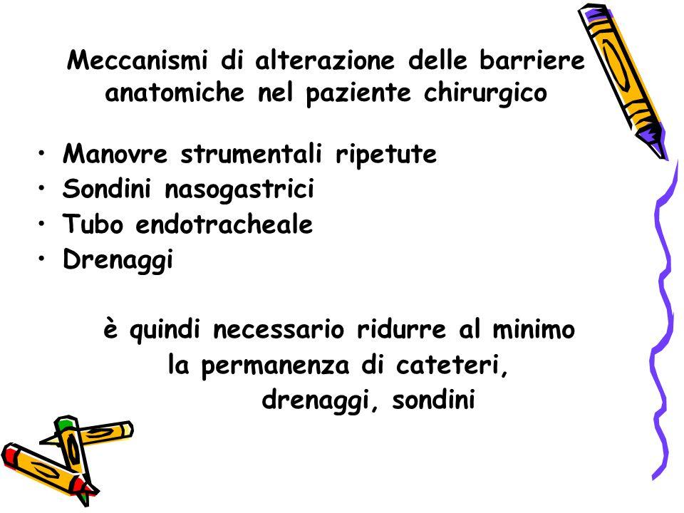 Meccanismi di alterazione delle barriere anatomiche nel paziente chirurgico Manovre strumentali ripetute Sondini nasogastrici Tubo endotracheale Drenaggi è quindi necessario ridurre al minimo la permanenza di cateteri, drenaggi, sondini
