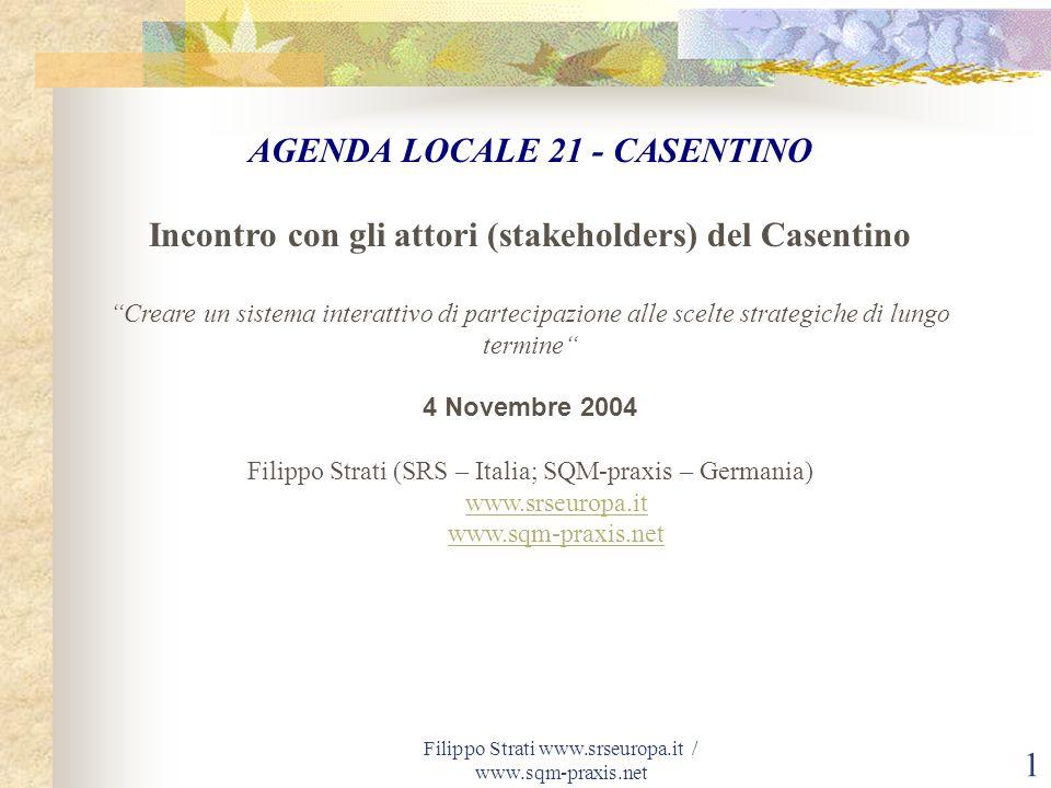 Filippo Strati www.srseuropa.it / www.sqm-praxis.net 1 AGENDA LOCALE 21 - CASENTINO Incontro con gli attori (stakeholders) del Casentino Creare un sis