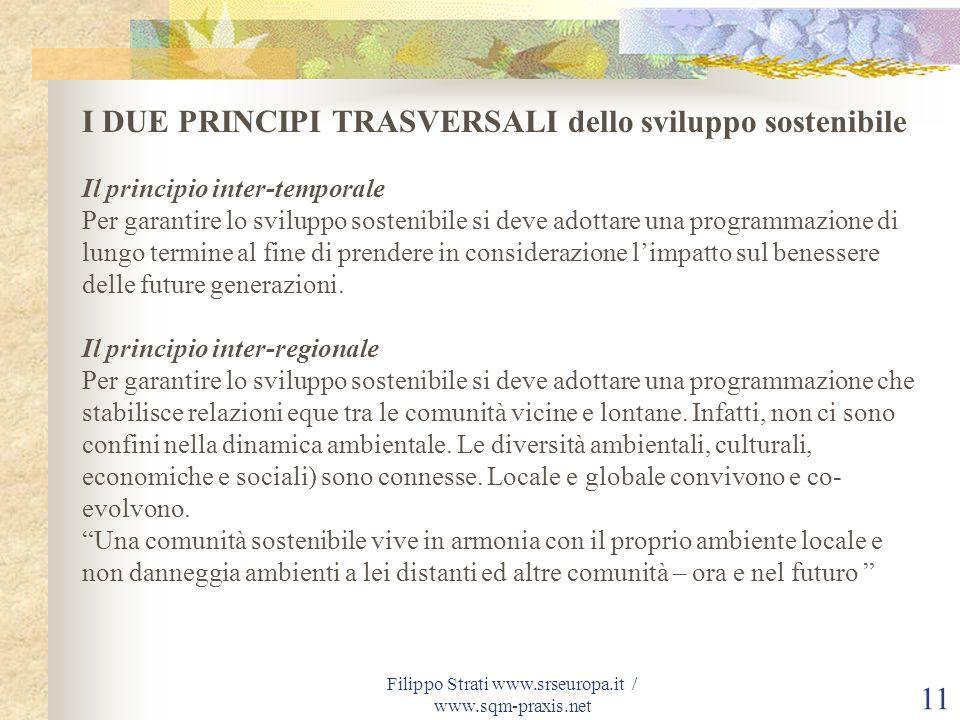 Filippo Strati www.srseuropa.it / www.sqm-praxis.net 11 I DUE PRINCIPI TRASVERSALI dello sviluppo sostenibile Il principio inter-temporale Per garanti