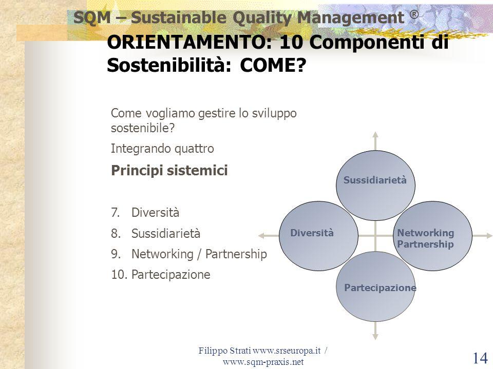 Filippo Strati www.srseuropa.it / www.sqm-praxis.net 14 Come vogliamo gestire lo sviluppo sostenibile? Integrando quattro Principi sistemici 7.Diversi