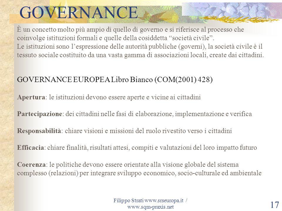 Filippo Strati www.srseuropa.it / www.sqm-praxis.net 17 È un concetto molto più ampio di quello di governo e si riferisce al processo che coinvolge is