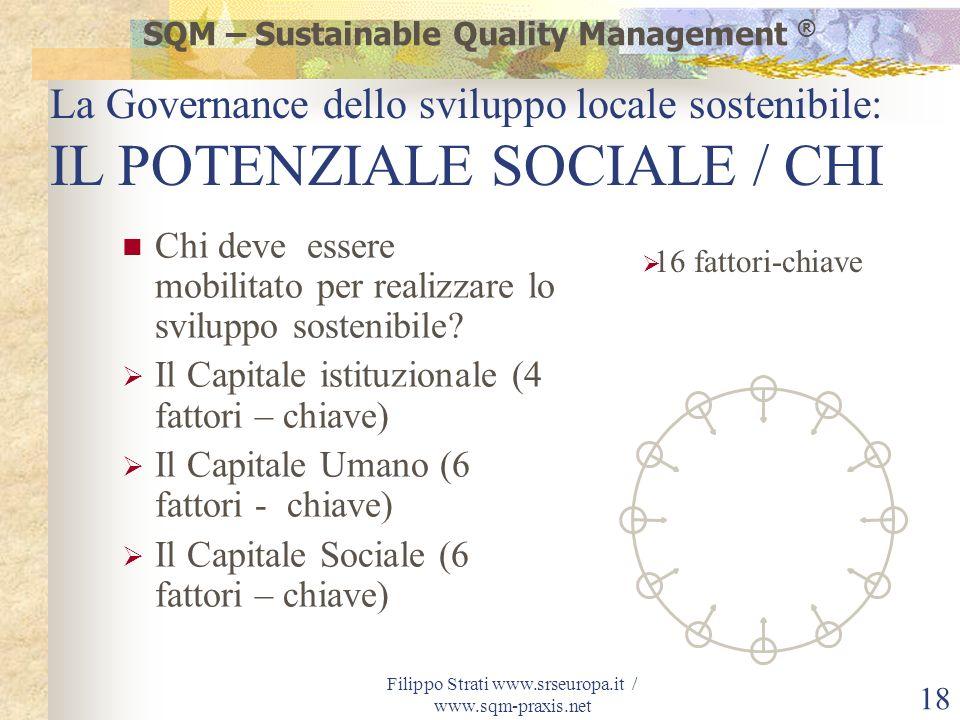 Filippo Strati www.srseuropa.it / www.sqm-praxis.net 18 Chi deve essere mobilitato per realizzare lo sviluppo sostenibile? Il Capitale istituzionale (