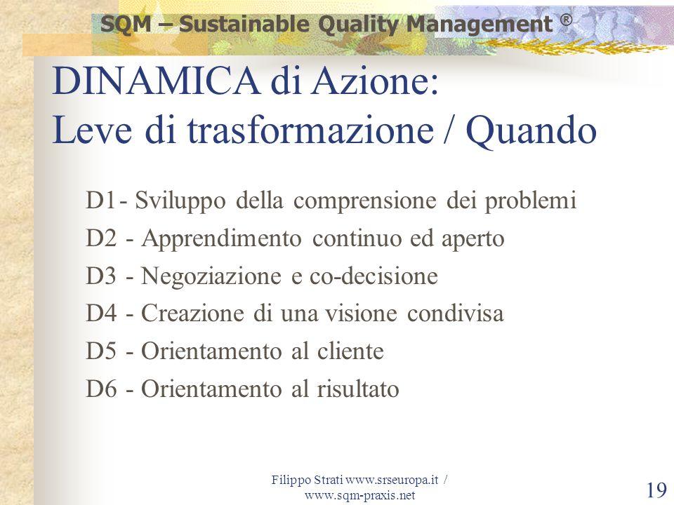 Filippo Strati www.srseuropa.it / www.sqm-praxis.net 19 D1- Sviluppo della comprensione dei problemi D2 - Apprendimento continuo ed aperto D3 - Negozi