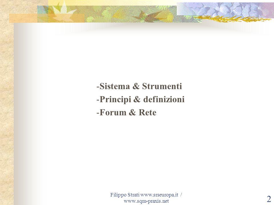 Filippo Strati www.srseuropa.it / www.sqm-praxis.net3 SQM – Sustainable Quality Management ® Quale direzione dare al nostro futuro.