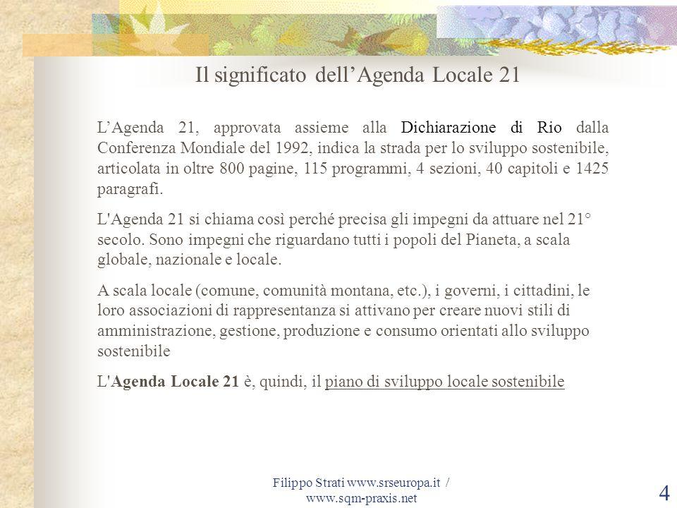 Filippo Strati www.srseuropa.it / www.sqm-praxis.net 4 Il significato dellAgenda Locale 21 LAgenda 21, approvata assieme alla Dichiarazione di Rio dal