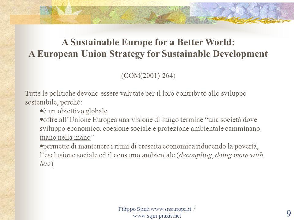 Filippo Strati www.srseuropa.it / www.sqm-praxis.net 10 Cosa vogliamo sostenere.