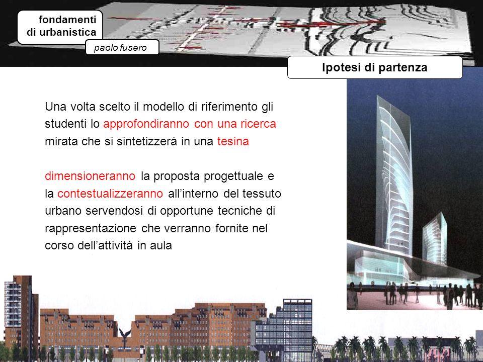 fondamenti di urbanistica paolo fusero Ipotesi di partenza Una volta scelto il modello di riferimento gli studenti lo approfondiranno con una ricerca