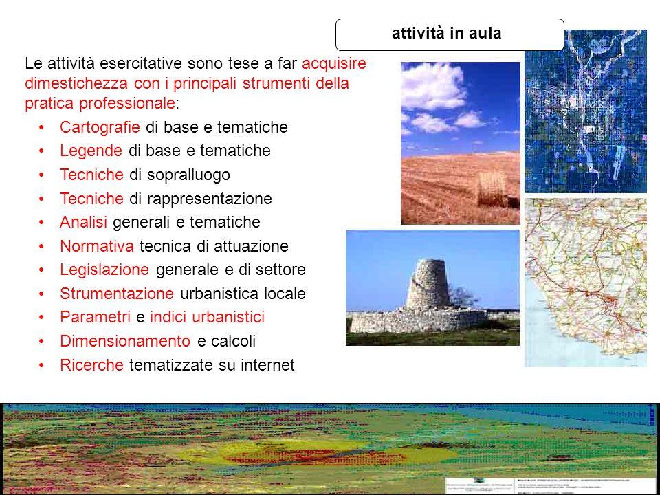 Le attività esercitative sono tese a far acquisire dimestichezza con i principali strumenti della pratica professionale: Cartografie di base e tematic