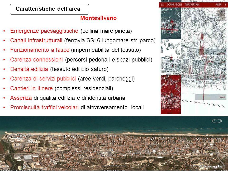 Caratteristiche dellarea Emergenze paesaggistiche (collina mare pineta) Canali infrastrutturali (ferrovia SS16 lungomare str. parco) Funzionamento a f