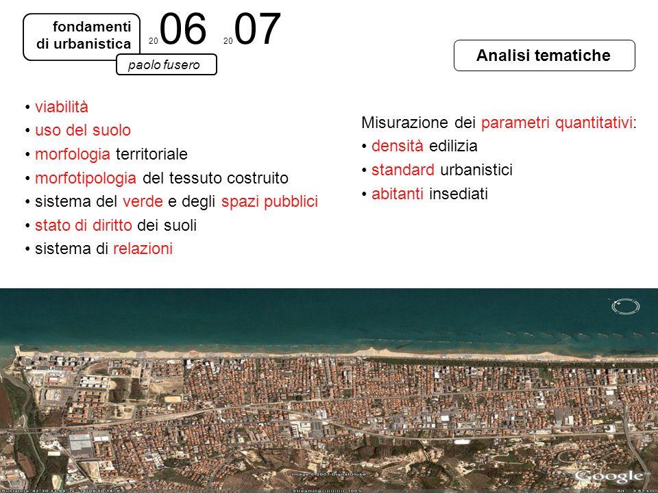 Analisi tematiche fondamenti di urbanistica paolo fusero 20 06 20 07 viabilità uso del suolo morfologia territoriale morfotipologia del tessuto costru