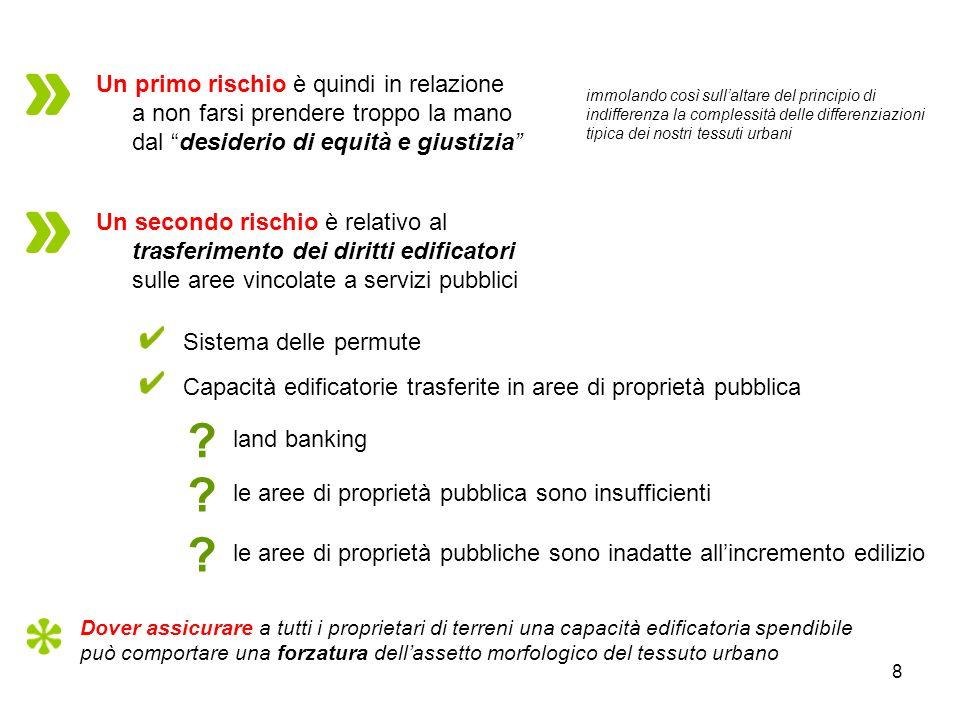 8 Sistema delle permute Capacità edificatorie trasferite in aree di proprietà pubblica Un primo rischio è quindi in relazione a non farsi prendere tro