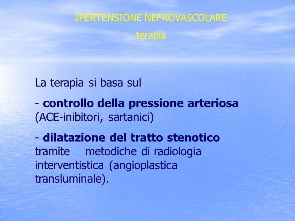 IPERTENSIONE NEFROVASCOLARE terapia La terapia si basa sul - controllo della pressione arteriosa (ACE-inibitori, sartanici) - dilatazione del tratto s