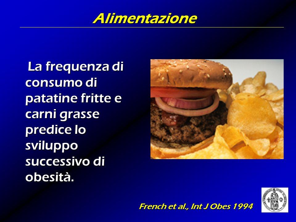 Alimentazione La frequenza di consumo di patatine fritte e carni grasse predice lo sviluppo successivo di obesità. La frequenza di consumo di patatine