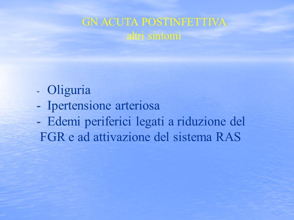 - Oliguria - Ipertensione arteriosa - Edemi periferici legati a riduzione del FGR e ad attivazione del sistema RAS GN ACUTA POSTINFETTIVA altri sintom