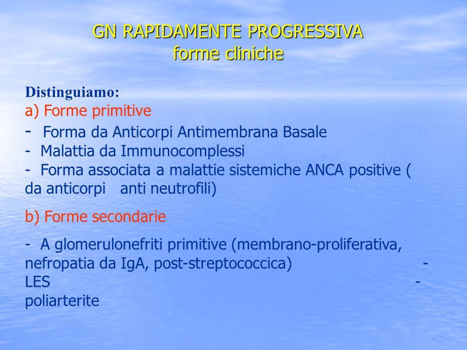 Distinguiamo: a) Forme primitive - Forma da Anticorpi Antimembrana Basale - Malattia da Immunocomplessi - Forma associata a malattie sistemiche ANCA p