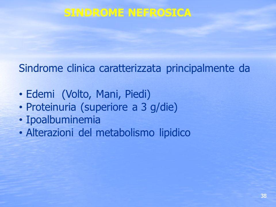 38 SINDROME NEFROSICA Sindrome clinica caratterizzata principalmente da Edemi (Volto, Mani, Piedi) Proteinuria (superiore a 3 g/die) Ipoalbuminemia Al