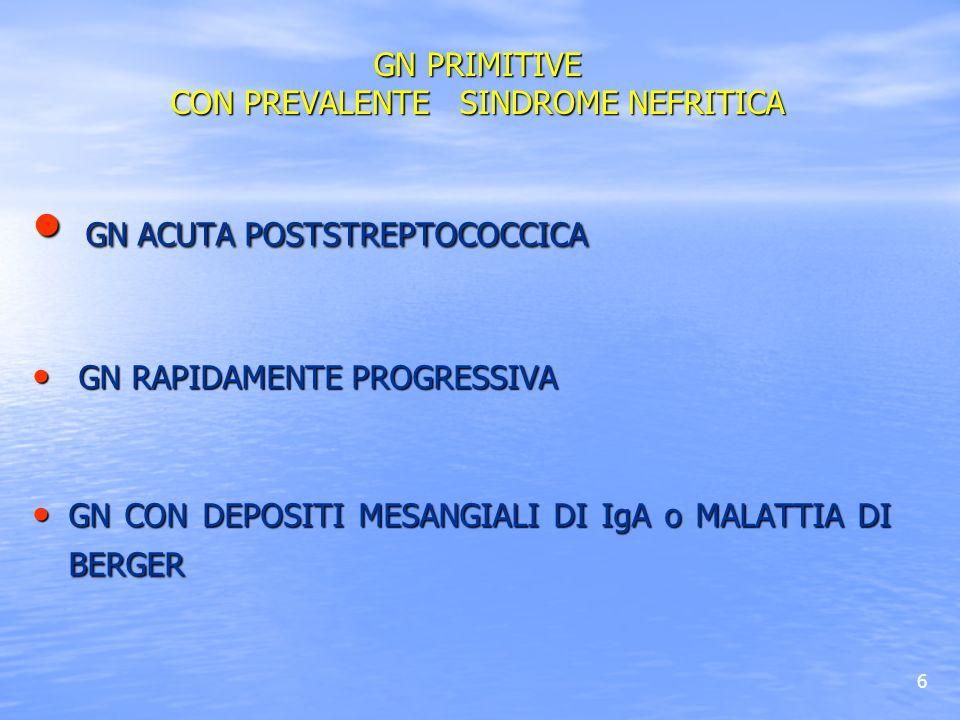 37 GN A LESIONI MINIME GN A LESIONI MINIME GLOMERULOSCLEROSI FOCALE E SEGMENTARIA GLOMERULOSCLEROSI FOCALE E SEGMENTARIA GN MEMBRANOSA GN MEMBRANOSA GN MEMBRANO-PROLIFERATIVA GN MEMBRANO-PROLIFERATIVA GN PRIMITIVE CON PREVALENTE SINDROME NEFROSICA