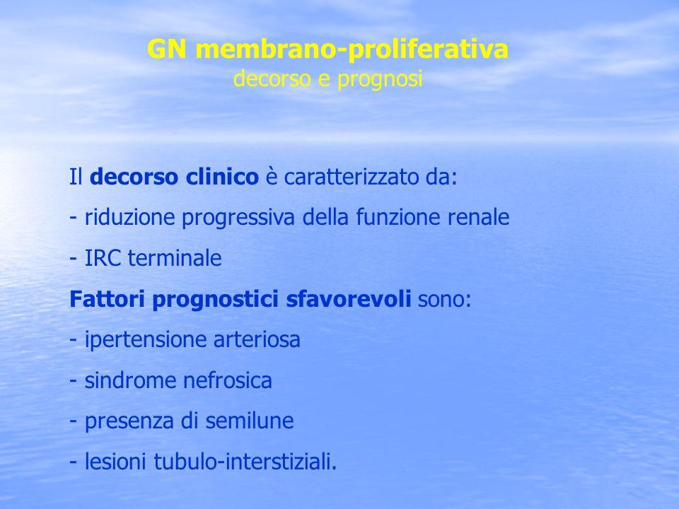 GN membrano-proliferativa decorso e prognosi Il decorso clinico è caratterizzato da: - riduzione progressiva della funzione renale - IRC terminale Fat