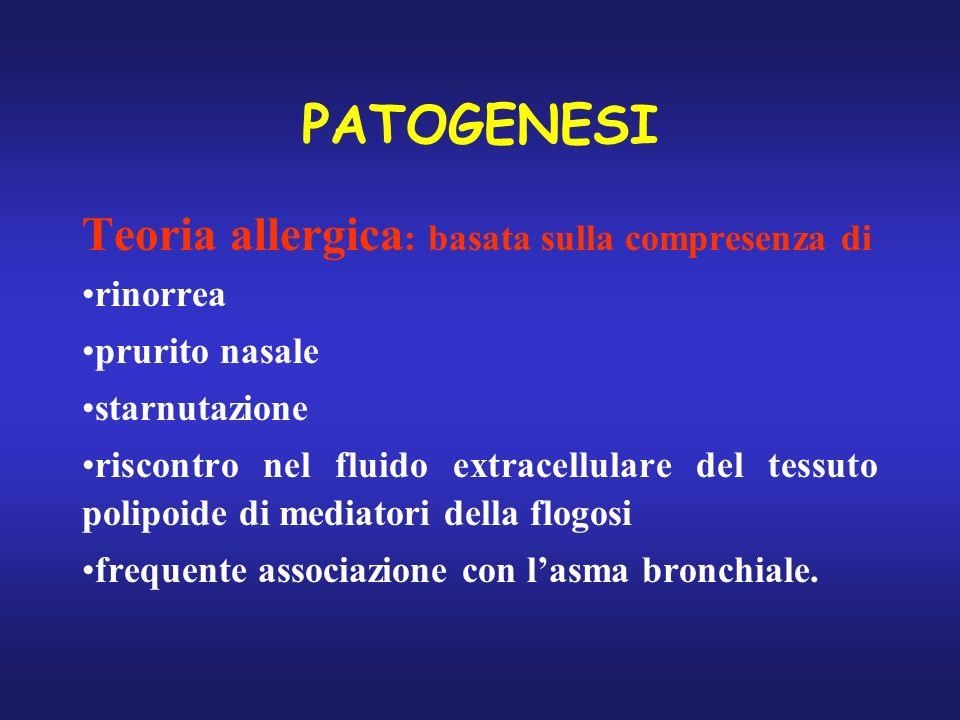 PATOGENESI Teoria allergica : basata sulla compresenza di rinorrea prurito nasale starnutazione riscontro nel fluido extracellulare del tessuto polipo