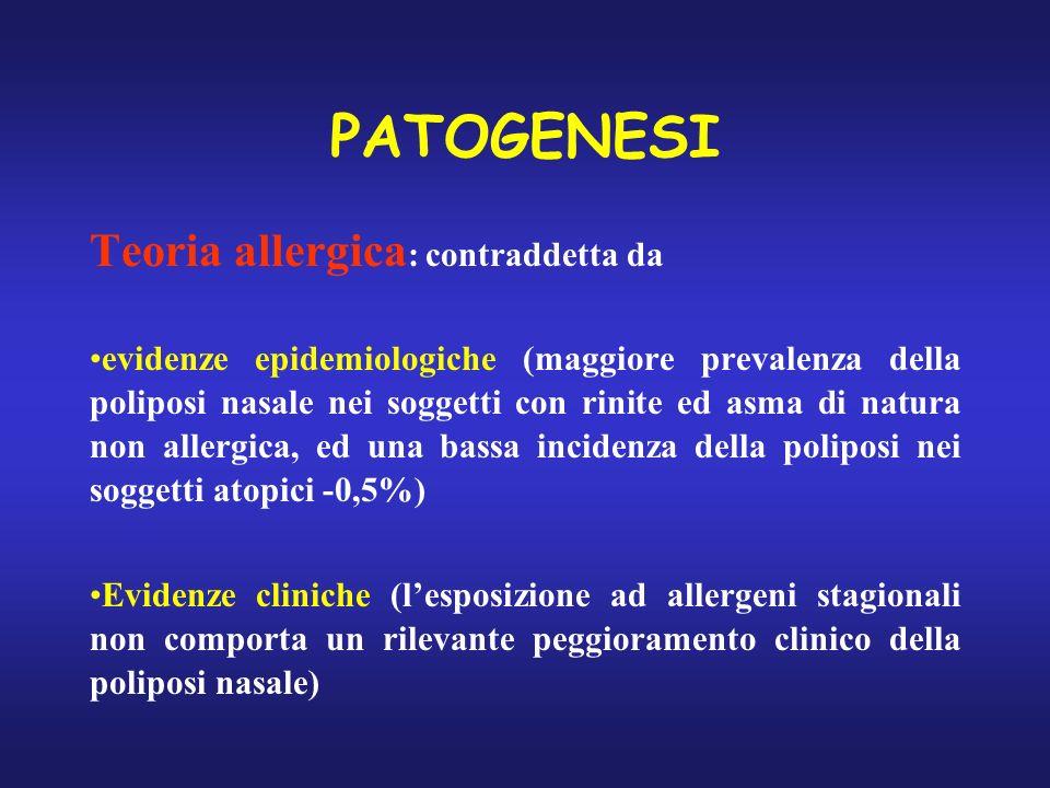 PATOGENESI Teoria allergica : contraddetta da evidenze epidemiologiche (maggiore prevalenza della poliposi nasale nei soggetti con rinite ed asma di n