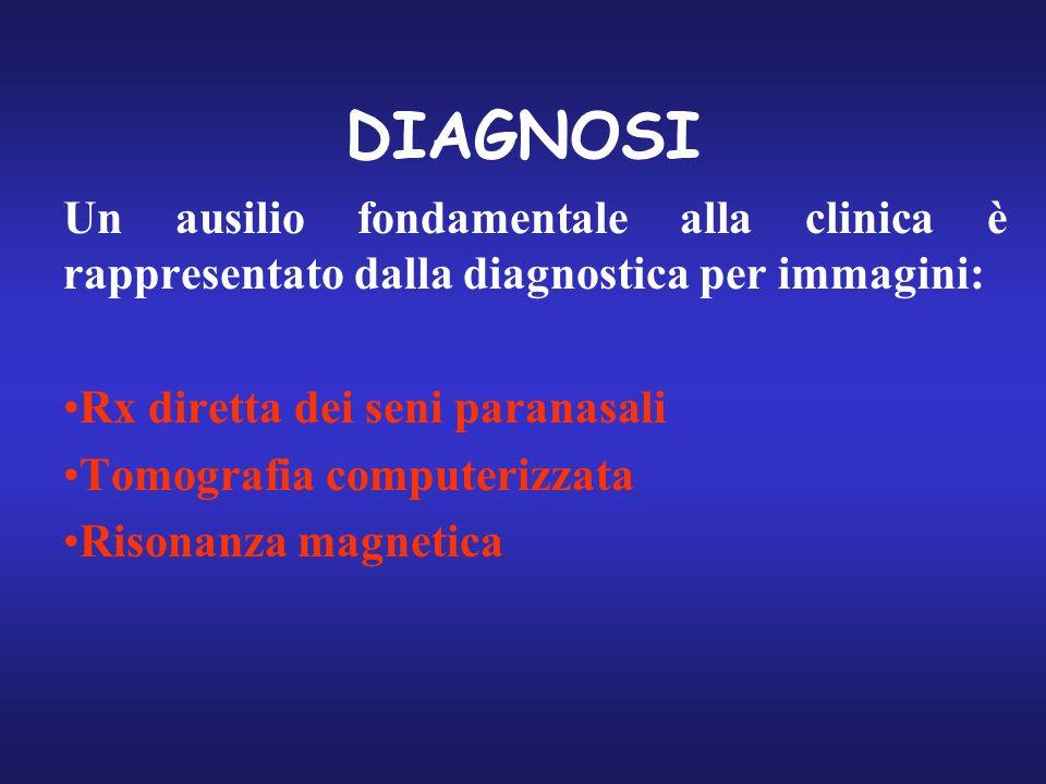 DIAGNOSI Un ausilio fondamentale alla clinica è rappresentato dalla diagnostica per immagini: Rx diretta dei seni paranasali Tomografia computerizzata
