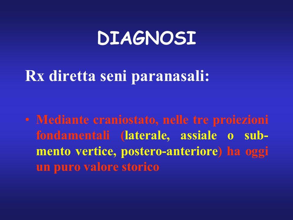 DIAGNOSI Rx diretta seni paranasali: Mediante craniostato, nelle tre proiezioni fondamentali (laterale, assiale o sub- mento vertice, postero-anterior