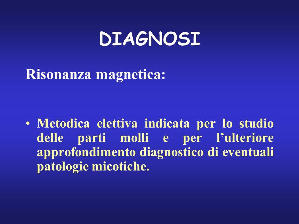 DIAGNOSI Risonanza magnetica: Metodica elettiva indicata per lo studio delle parti molli e per lulteriore approfondimento diagnostico di eventuali pat