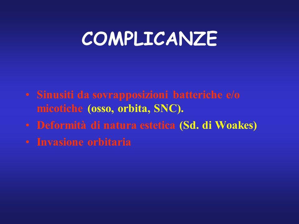 COMPLICANZE Sinusiti da sovrapposizioni batteriche e/o micotiche (osso, orbita, SNC). Deformità di natura estetica (Sd. di Woakes) Invasione orbitaria