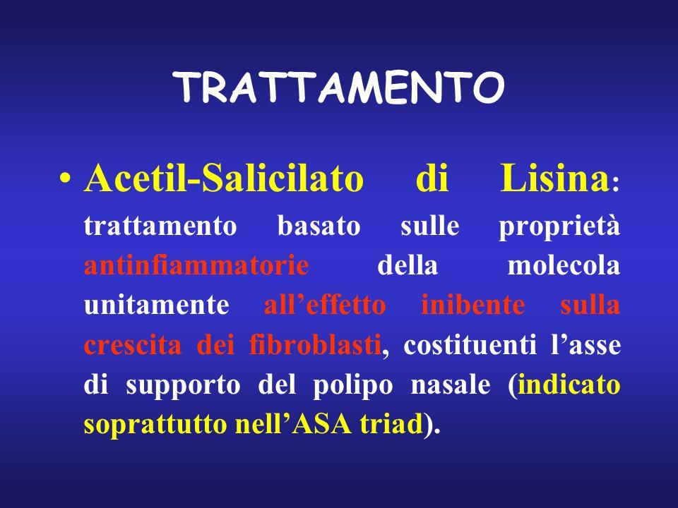 TRATTAMENTO Acetil-Salicilato di Lisina : trattamento basato sulle proprietà antinfiammatorie della molecola unitamente alleffetto inibente sulla cres