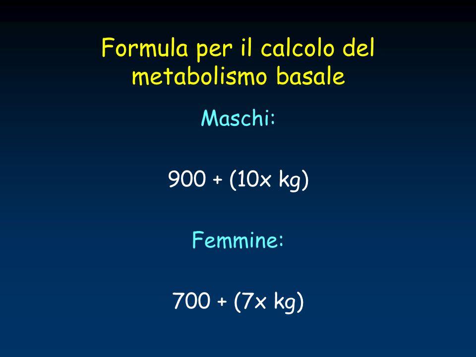 Formula per il calcolo del metabolismo basale Maschi: 900 + (10x kg) Femmine: 700 + (7x kg)