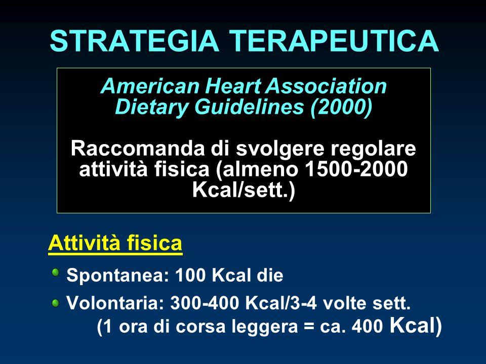 STRATEGIA TERAPEUTICA Attività fisica Spontanea: 100 Kcal die Volontaria: 300-400 Kcal/3-4 volte sett. (1 ora di corsa leggera = ca. 400 Kcal) America