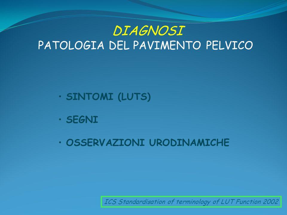 DIAGNOSI PATOLOGIA DEL PAVIMENTO PELVICO ICS Standardisation of terminology of LUT Function 2002 SINTOMI (LUTS) SEGNI OSSERVAZIONI URODINAMICHE