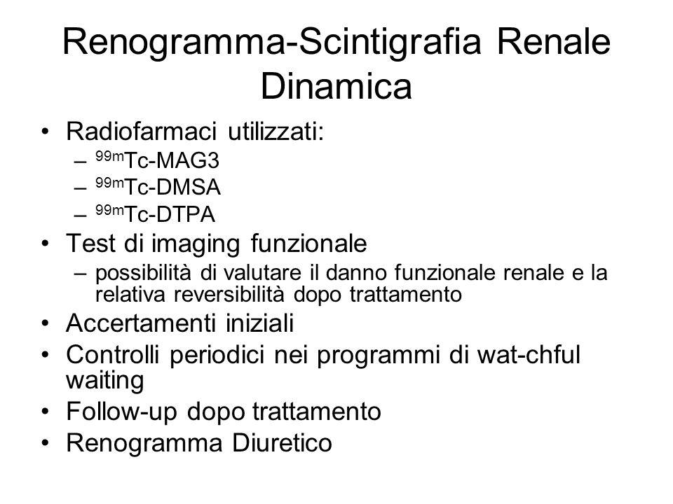 Renogramma-Scintigrafia Renale Dinamica Radiofarmaci utilizzati: – 99m Tc-MAG3 – 99m Tc-DMSA – 99m Tc-DTPA Test di imaging funzionale –possibilità di