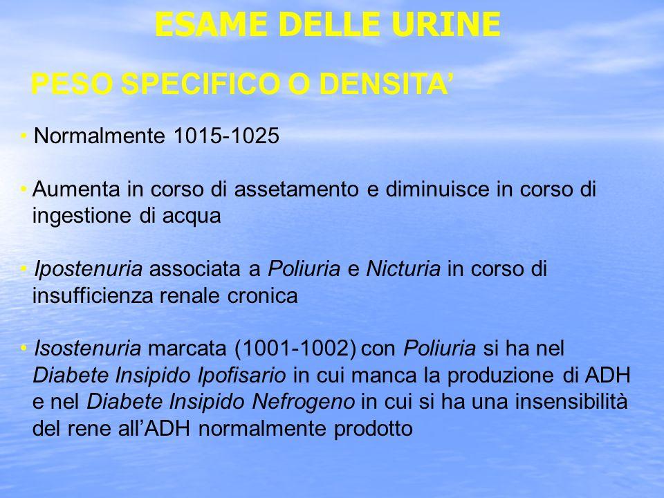 ESAME DELLE URINE PESO SPECIFICO O DENSITA Normalmente 1015-1025 Aumenta in corso di assetamento e diminuisce in corso di ingestione di acqua Ipostenuria associata a Poliuria e Nicturia in corso di insufficienza renale cronica Isostenuria marcata (1001-1002) con Poliuria si ha nel Diabete Insipido Ipofisario in cui manca la produzione di ADH e nel Diabete Insipido Nefrogeno in cui si ha una insensibilità del rene allADH normalmente prodotto