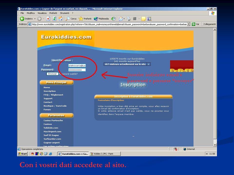 Con i vostri dati accedete al sito. Inserire indirizzo email e password e premere envoyer